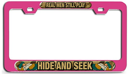 Makoroni - REAL MEN STILL PLAY HIDE AND SEEK Duck Pn Steel License Plate Frame - License Tag Holder 3D Design (Seek Duck)