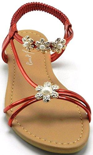 Vrouwen Enkelband Strass Feestkleding Gladiator Romeinse Platte Zomer Speciale Sandaal Schoenen Rood