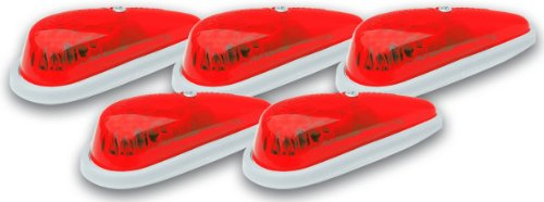 (Pacer Performance 20-215 Hi-Five Red Teardrop Style Cab Roof Light Kit, (Pack of 5))