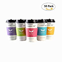 Home-organizer Tech Disposable Paper Coffee Cups with Lids and Sleeves - 12 Ounce Size - Count Of 50 Insulated Hot Cups (Light Green)