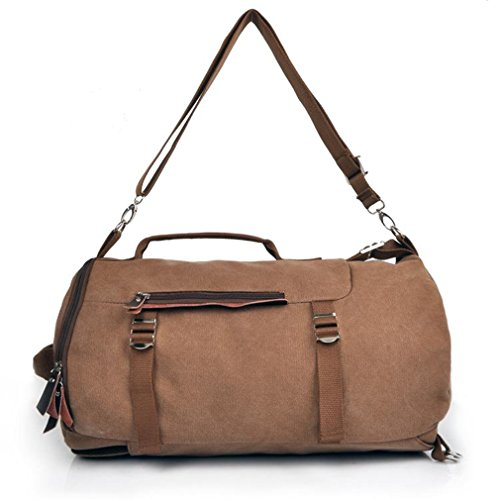 Men's Big multi-purpose canvas Casual All Cotton Travelling Bag Backpacks Travel Bag Pocket Coffe Fit for 14' Notebook (14' Notebook Handbag)
