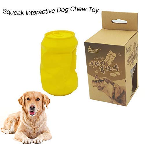 URUNIQ FDA Durable Dog Chew Toy Mad Cans Squeak Interactive Toy Indestructible Bite Toy for Aggressive Chewers Small Medium Breed Dogs Gift for Pets Lover Yellow