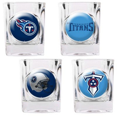NFL Tennessee Titans Four Piece Square Shot Glass Set (Individual Logos)