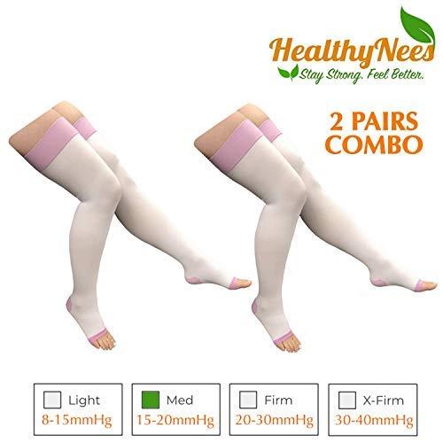 HealthyNees Calf Thigh Length 15-20 mmHg Med Compression Leg Shin Circulation Fatigue Extra Wide Daily Support 2 Pairs Combo (Thigh Length 5XL) [並行輸入品] B07QMT232D