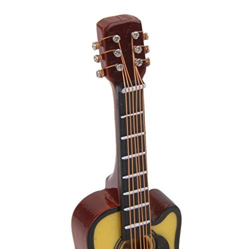 1//12/Puppenhaus Miniatur Musikinstrument Spielzeug Holz Akustische Gitarre
