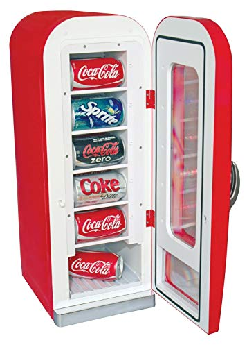 Koolatron CVF18 Retro-designed Thermoelectric Vending Fridge, Holds up to 10 Cans, Push Button Vending, Tall Window Display, Plugs Into Any Vehicle 12V Plug or Household Outlet, Red by Koolatron (Image #1)