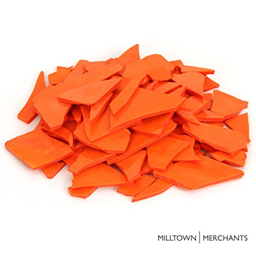 (Milltown MerchantsTM Orange Stained Glass Pieces 1 lb - Opaque Tangerine Stained Glass Cobbles - Broken Glass Chips for Stepping Stones and Crafts - Bright Color Glass Coblets )