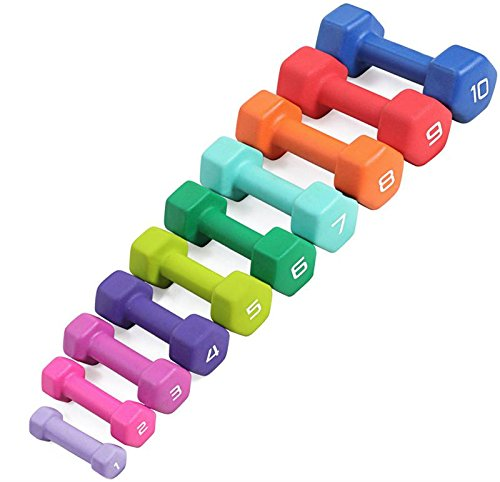 CAP Barbell SDN4 Colored Neoprene Aerobic Hex Dumbbell Club Pack (456 lbs) with RK-10 Storage Rack for Group Fitness by Ironcompany.com
