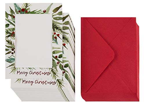 36-Pack Christmas Photo Greeting Card - Red Foil Photo Holder Sleeve, Holiday Photo Frame with Envelopes, Holds 5 x 7 Inches Inserts