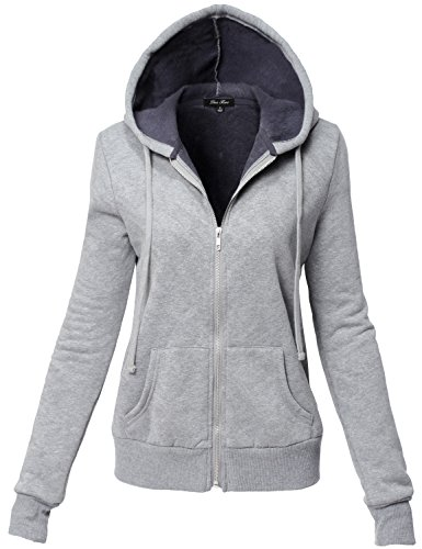 Inner Brushed Soft Zip Up Hoodie Fleece Jackets