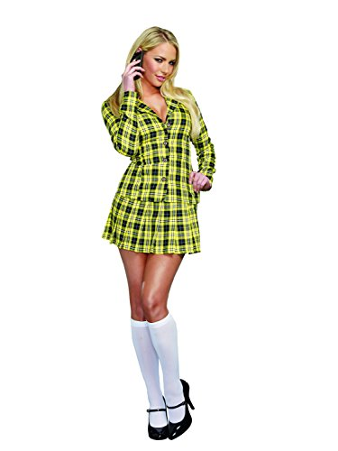 Dreamgirl Women's Fancy Girl Yellow Plaid Clueless Iggy Schoolgirl Costume, Plaid, Large]()