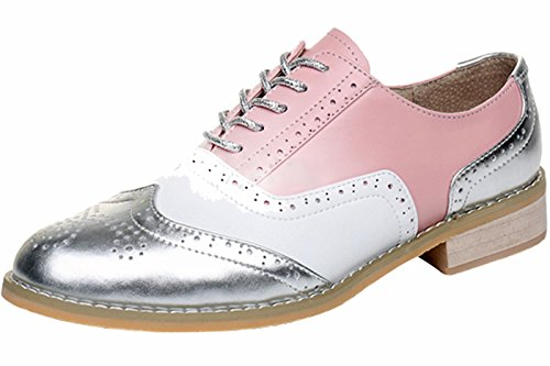 LaRosa Women's Handmade Assorted Colors Carved Wingtip Lace-up Leather Brogues Flat Oxford Shoes,pink white-silver,7.5 B(M) (Leather White Shoes Pink)