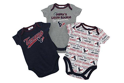 Gerber Childrenswear Houston Texans 3 Pack Bodysuit Size 0-3 Months