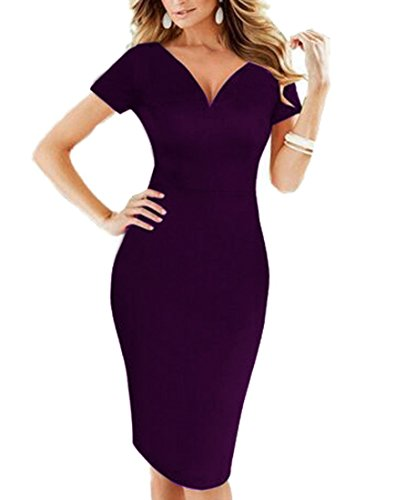 FORTRIC Women Slim Deep V Neck Sexy Evening Party Cocktail Bodycon Pencil Dress Purple - Evening Taffeta Dress Strapless