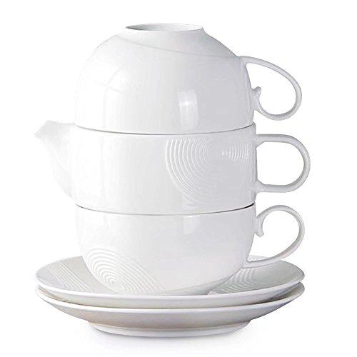 77L Tea Service Set for 2, Elegant Design Ceramic Tea Set fo