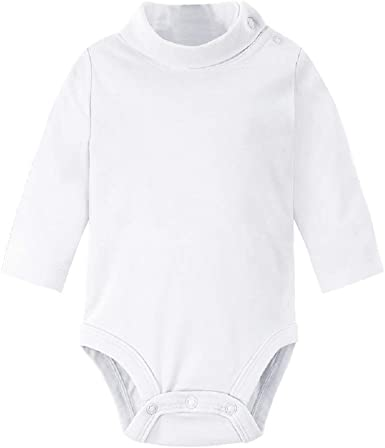 6M-2Y Leveret Baby/'s Toddlers White Solid Turtleneck Bodysuit 100/% Cotton