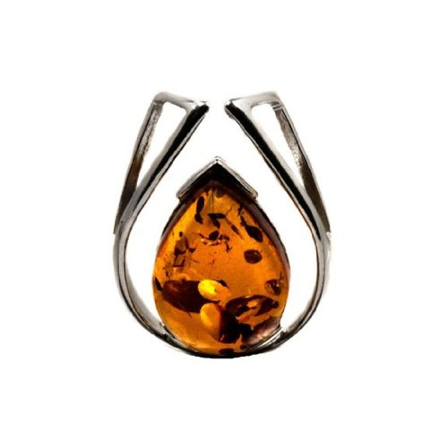 Sterling Silver Amber Framed Drop Slide Pendant
