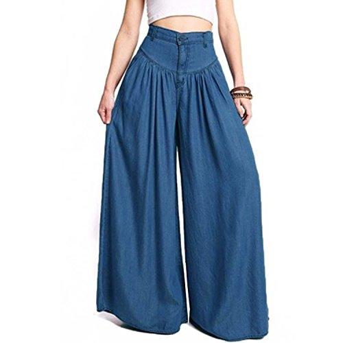 - Women High Waist Long Harem Pant Pockets Loose Pleated Denim Blue Wide Leg Pants