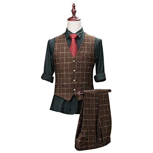 Men's Classic Plaid 3-Piece Suit Peak Lapel One Button Tuxedo Slim ...