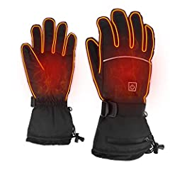 The waterproof nylon surface and thick cotton lining provide adequate warmth protection for cold outdoor sports or travel. Why choose us? 1. 3 heating level heating gloves - to meet the heat needs at different temperatures. Temperature is eas...