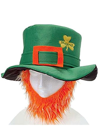 St Patricks Day Costume Leprechaun Hat And Orange Beard -