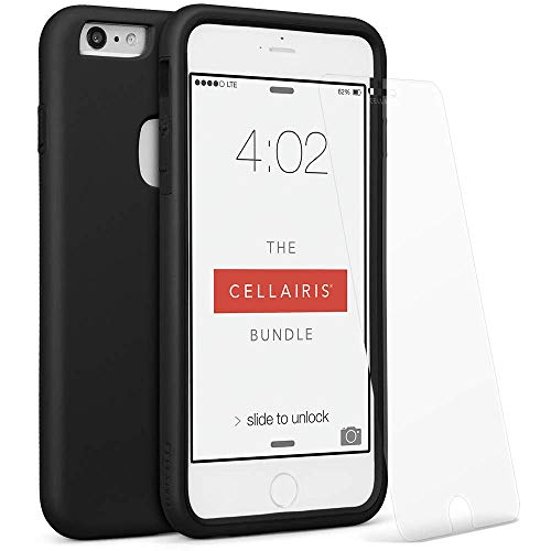 Cellairis - The Cellairis Bundle, Cell Phone Case for Apple iPhone 6 Plus, for iPhone 6S Plus (Black) - Triple Layer Protection - with a Scratch Resistant Tempered Glass Screen Protector from Cellairis
