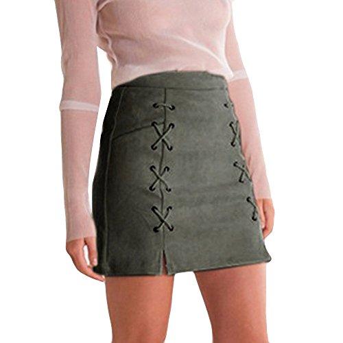 - Ularma Womens Mini Skirt, 2019 Girls Bandage Suede Fabric Slim Seamless Stretch Tight Short Skirts Army Green
