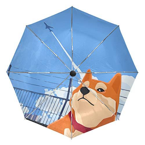 Cute Shiba Inu Plane Taking Off Sun&Rain Automatic Umbrella Windproof Travel UV