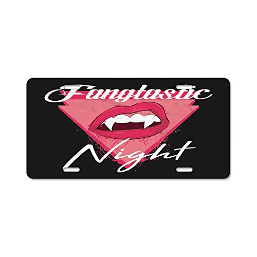 YEX Abstract Fangtastic Halloween Night Vintage License Plate Frame Car Licence Plate Covers Auto Tag Holder 6