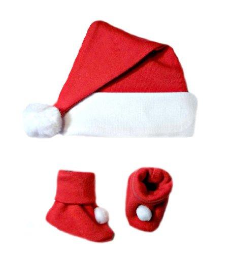 Jacqui's Unisex Baby Santa Hat and Booties Set, Small Newborn