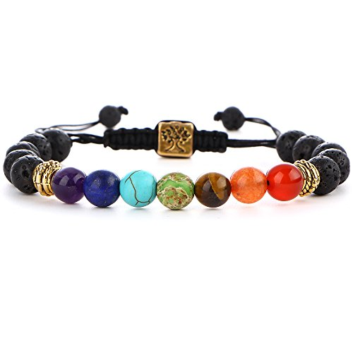 Men Women 7 Chakras Beads Healing Bracelets Natural Lava Stone Yoga Braided Rope Adjustable Bracelet with Tree of Life OM Charm