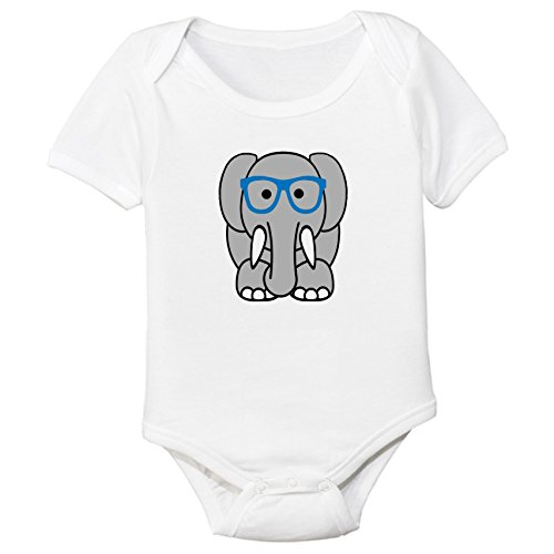 Nerdy Elephant Organic Cotton Baby Bodysuit (0-3M, Blue - Specs Geeky