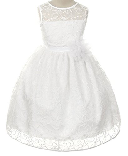 BNY Corner Flower Girls Dress White Quality Lace Dress Pageant Communion Wedding Girl 2-14