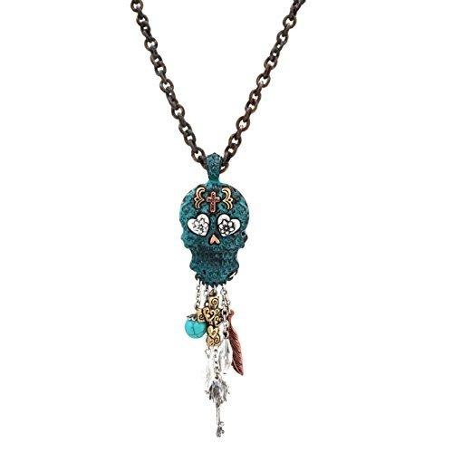 Dangling Pendant Charm (Elosee Charm Dangling Sugar Skull Pendant Long Necklace 30 inch / 76cm (Patina))