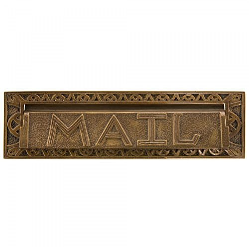 Naiture 13'' Classic Heavy Duty''Mail'' Letter Slot in Antique Brass Finish by SH (Image #2)