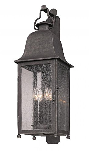 Troy Lighting Outdoor Lamp (Troy Lighting Larchmont 4-Light Outdoor Wall Lantern - Aged Pewter Finish with Clear Seeded Glass)