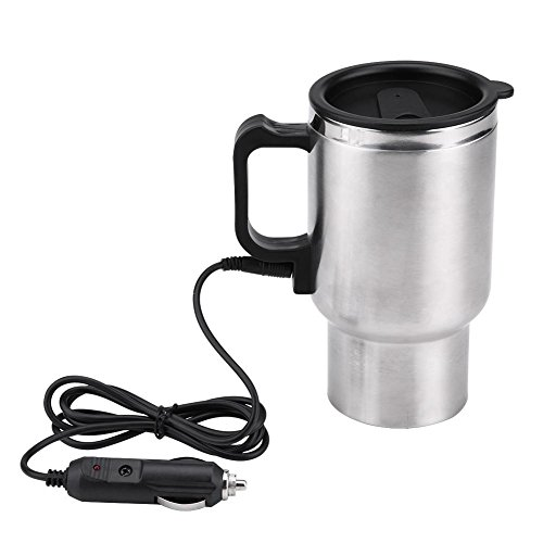 Travel Mug Auto - Terisass 450ml Portable In-car Heated Travel Mug 12V 120W Universal Car Electric Heating Bottle Cup 304 Stainless Steel PP Vacuum Drinking Water Kettle Powered by 12V Cigarette Lighter Plug