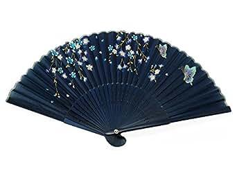 Japanese Design Silk Handheld Folding Fan, Dark Blue w/Flowers, Golden Stems and Butterflies HF-225