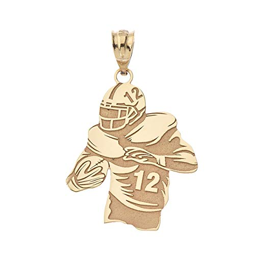 Sports Charms Certified 14k Gold Personalized Football Player Pendant with Your Name and Number