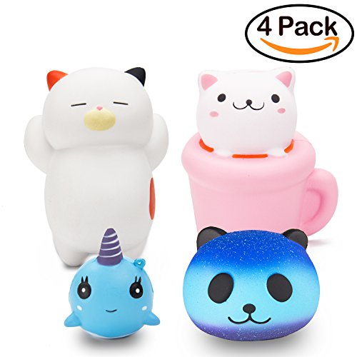 R • HORSE Jumbo Cute Cat, Dolphin, Panda Set Kawaii Cream Scented Squishies Slow Rising Decompression Squeeze Toys for Kids or Stress Relief Toy Hop Props, Decorative Props Large (4 (Jumbo Cat)