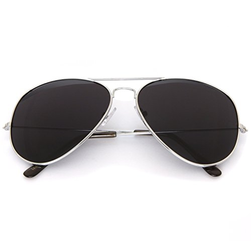 SUNGLASSES LUXE - Large Aviator Sunglasses with Super Dark Lens - Sunglasses Luxe