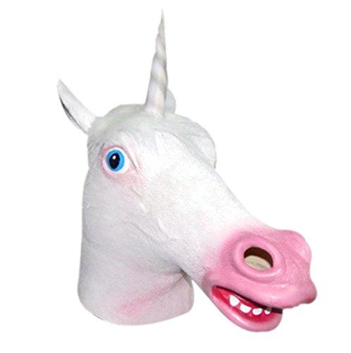 ROPALIA Creepy Unicorn Head Latex Mask Halloween Prop