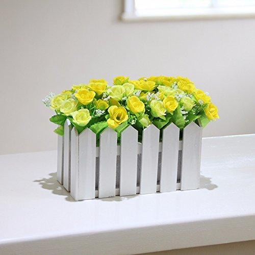 Lcoran Flores Artificiales Rosa Valla De Madera Juego Salón