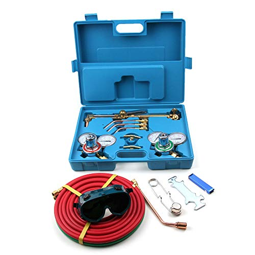 Gas Welding Cutting Torch Kit,Amailtom 13 in 1 Portable Welding Cutting Torch Set Oxy Acetylene Oxygen Brazing Professional Tool Set Victor Type with Hose,Goggles & Carring Case