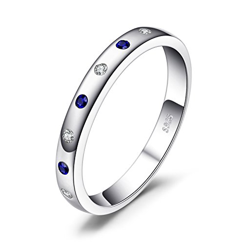 JewelryPalace Classical 0.1ct Created Sapphire Engagement Band Ring 925 Sterling Silver Size 8