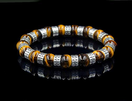 - Solid Sterling Silver and Tiger's Eye Bracelet, Tiger's Eye Bracelet, Bead Bracelet Men