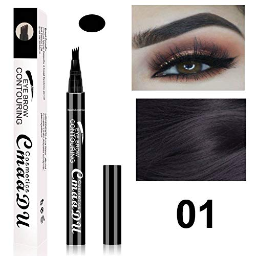 Waterproof Microblading Eyebrow Tattoo Ink Pen Ultra-Thin Carving Eyebrow Pencil Sweat-Proof 4 Head Fork
