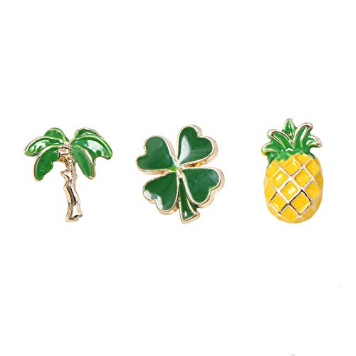 (Apol 3 Pcs Hawaiian Style Enamel Brooches,Four Leaf Lucky Clover Coconut Tree Pineapple Brooch Lapel Pin for Clothes Dress Scarf Bag Decoration)