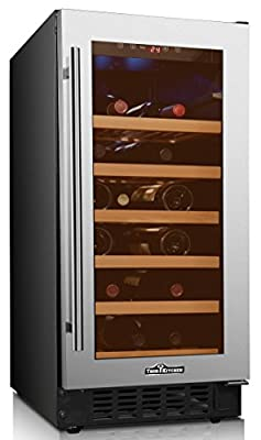 Thorkitchen HWC2407U 33 Bottles 15'' Built-in & Free standing Dual zone Wine Cooler, stainless steel