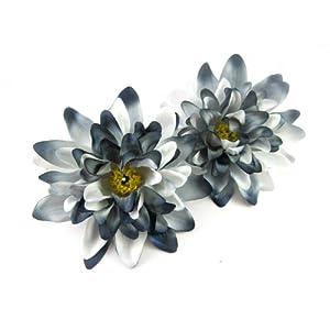 "(2) Black White Silk Dahlia Flower Heads - 4"" - Artificial Flowers Dahlias Head Fabric Floral Supplies Wholesale Lot for Wedding Flowers Accessories Make Bridal Hair Clips Headbands Dress 53"